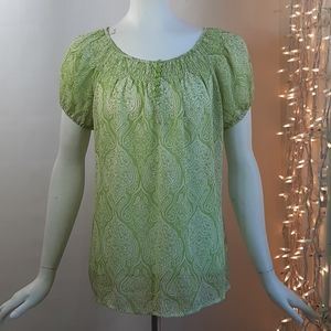 3/$18 Apt 9 Top Green Crinkle Flowy Sheer